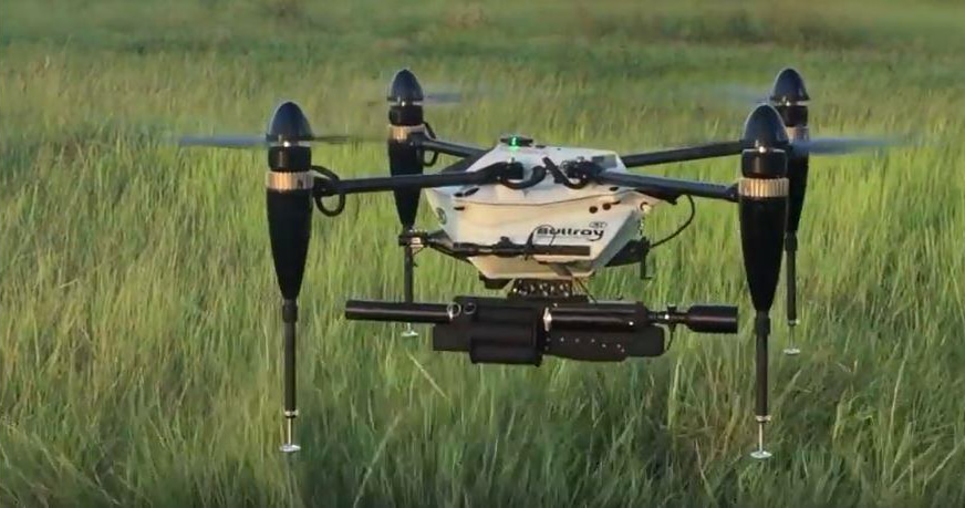 Mounted on amphibious quadcopter
